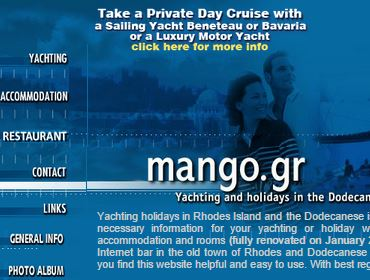 Mango Yachting charters, Website